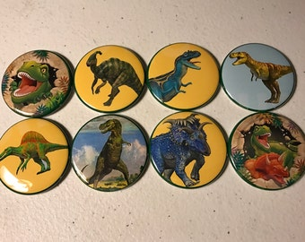 8 colorful dinosaur Pinback Buttons or fridge magnet buttons Party Favors, many sizes to choose from