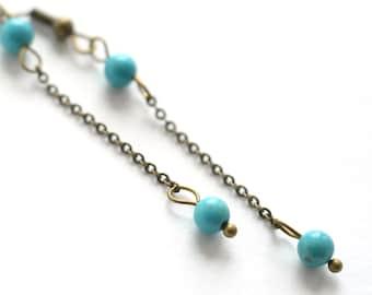 long chain turquoise earrings turquoise jewelry minimal earrings gift for mom dangle earrings gift for women boho earrings bohemian jewelry