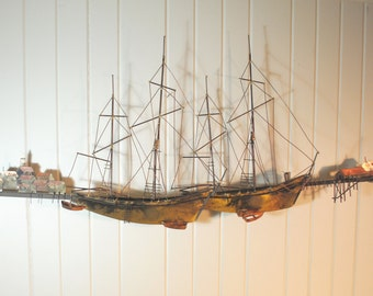 Beautiful Signed C. Jere Metal Wall Sculpture - Ships in Harbor