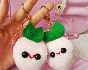 Strawberry Plush Bag Charm | Kawaii Inspired Handmade Pastel Pink Strawberry Plush for Backpacks and Bags