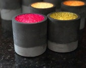 3  Round Grey Two Tone Glitter Pots