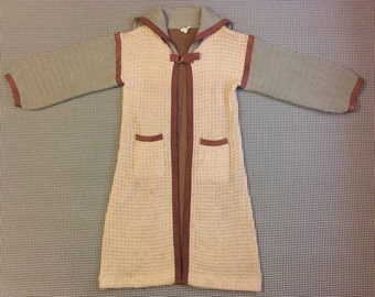 1970's, patchwork block, sailor collar,long,  cardigan, in beige, greys and browns, Women's size Large