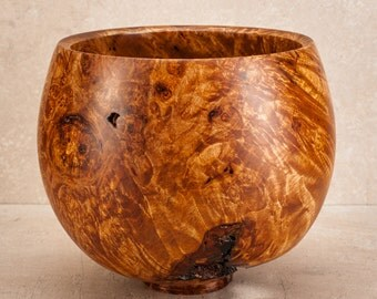 Hand Turned 6.75 inch by 5.5 inch closed maple burl bowl