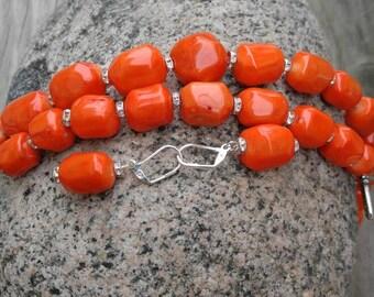 Large irregular coral beads jewelry set, deep orange beads