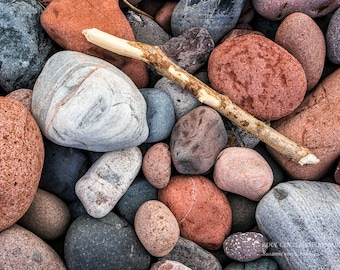 Lake Superior Rocks, Zen Nature Photo, Still Life, Beach, Red Gray Brown, Driftwood, Serene, Meditation, Nature Photography, Healing Art