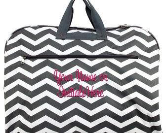 Monogram Personalized Grey Chevron Garment Bags Women | Girls Clothes Bag | Luggage Travel Garment Bag | Dance Cheer Travel Dress Bags