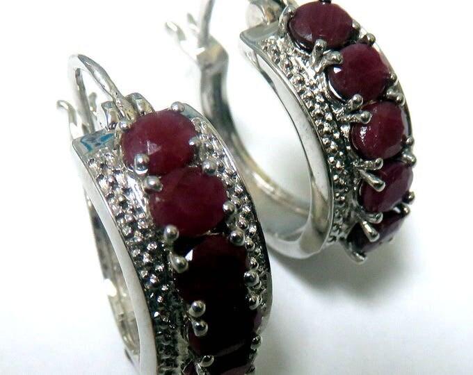 Sterling Silver Genuine Ruby Earrings