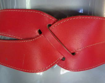 vintage red leather belt double buckle ladies size 28 inch waist