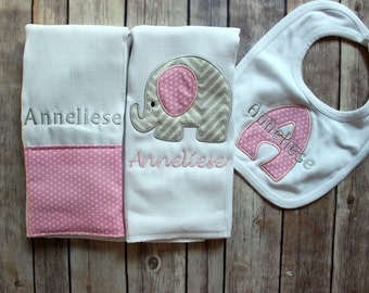 Monogrammed Baby Girl Elephant Burp Cloth Bib Set - Personalized Custom Monogrammed Grey Chevron Pink Elephant Set - Personalized Elephant