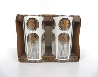 Set of 4 Gay Fad Tumblers, Mid Century Highball Glasses, Mid Century Vintage Gold Coin Barware