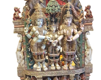 Indian Antique Temple Carving Sculpture Hand Carved Shiva Parvati Vishnu Meditation Decor Spiritual iNterior Zen Design FREE SHIPPING