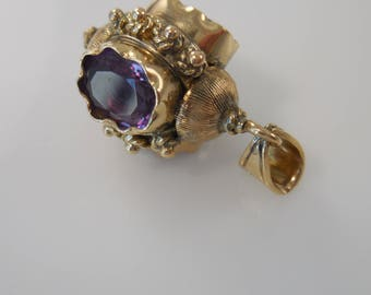 Pendant 14k Yellow Gold with Amethyst Pendant 3 Sided