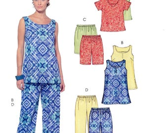 Misses' Pullover Tops, Shorts & Capri Pants - McCall's 5025 Stitch 'n Save Sewing Pattern - Easy Sew