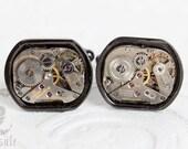 Steampunk Cufflinks \\ Wedding Cufflinks \\ Industrial Cufflinks \\ Goth Cufflinks \\ Black Cuff links with Vintage Watch Movement