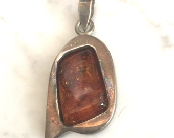 Vintage Sterling Silver Necklace Pendant with Brown Stone