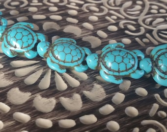 Turquoise Blue Howlite Turtle Beads, 19x15mm, Turtle Beads, qty. 6 beads