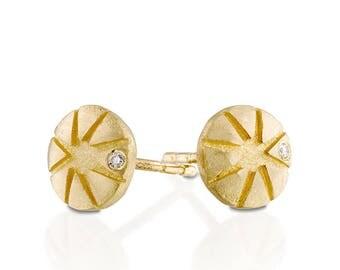 Diamond earrings studs, gold diamond earrings, 18k gold earrings, geometric earrings, bridal earrings studs, small diamond earrings