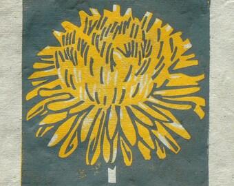 Dandilion mini linocut print