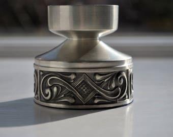 Norwegian Pewter Telemark Rosemaling Candle Holder Selandia