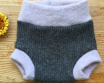 Sz Newborn, upcycled wool soaker diaper cover, gray and lavender