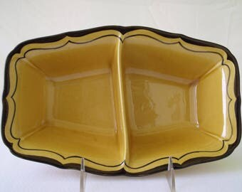 Metlox La Mancha Gold Rectangular Divided Vegetable Dish