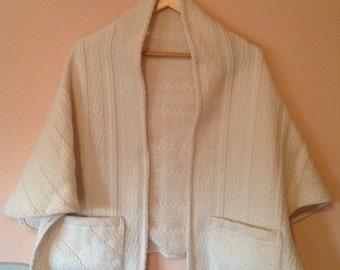 boho hippie wool shawl with pockets