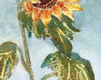 Original Watercolour, Painting, Sunflower, 8ins x 6ins, Gift Idea, Art and Collectibles, Floral Art