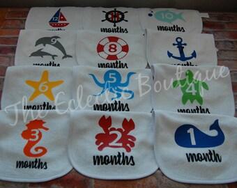 Baby Milestone Nautical Bibs