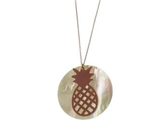 Pineapple Necklace/ Sterling Silver Necklace/ Mother Pearl Charm/ Fruit/ Rose Gold