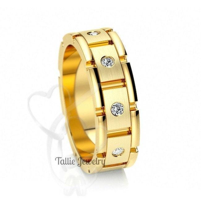Mens 14K Yellow Gold Wedding Bands Diamond Wedding Rings Rolex
