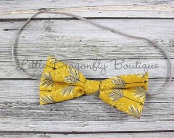 RTS mustard grey arrow fabric bow {bow headband, fabric headband, yellow headband}