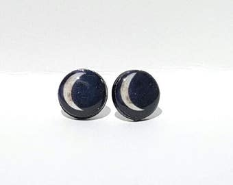 Crescent Moon Post Earrings