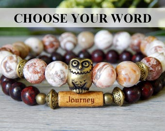 Owl Bracelet, Journey Bracelet, Message Bracelet, Owl Charm Bracelet, Word Bracelet, Owl Jewelry, Beaded Owl Bracelet, Inspiration Bracelet