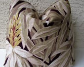 Designer Pillow Cover- Ralph Lauren  Barkcloth Vintage Floral - Decorator Fabric - Toss Pillow - 16 x 16 - Ginger Plant - Beiges - Taupes