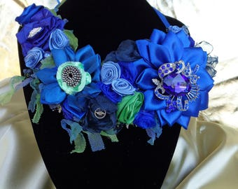 Necklace style,  fabric flowers, fashion,ribbonwork, ribbon flowers, gifts for her, unique, boho style