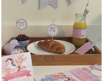Printable by you/ Digital Unicorn Mother's Day Breakfast in Bed Package - Personalised & DIY - see listing for description of items
