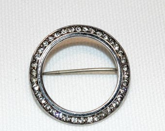 Vintage Sterling Silver Clear Paste and Enamel Brooch