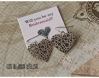 Heart Charms Earrings Antique Silver Bridesmaid Earrings