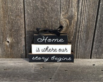 Home is where our story begins Mini wood blocks-wedding blocks