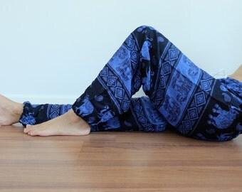 CH0007 Rope and Elastic Waist Lady pants - bohemian clothing women yoga pants harem pants hippie trousers
