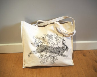 Hare Rabbit Cotton Tote Bag Large Carryall