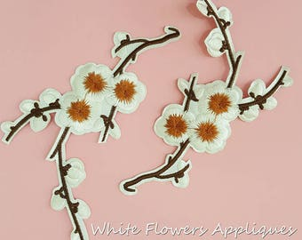 Iron on White Plum Flower Patch Applique, Hot Fix Flower Bloom Appliques