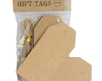 Large Brown Tags Blank Luggage Price Hang Label with 20 Strings - 4.5x9.5cm