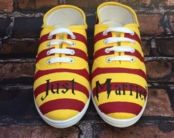 Harry Potter Inspired Wedding Shoes JUST MARRIED Can be made into Harry Potter Toms