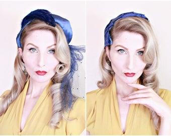 1950s Vintage Hats / Azure blue / Lot of 2 / Vintage 50s Hats / Satin / Feathers / Grosgrain ribbon