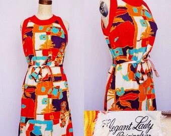 1960s warm Coloured Hawaiian Style Belted Dress