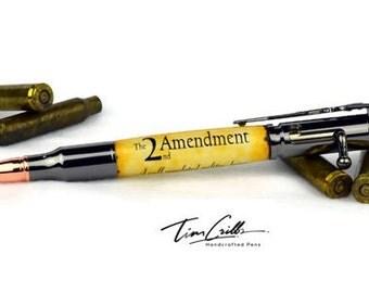 30 Cal Bolt Action Gun Metal Ballpoint Pen / 2nd Amendment