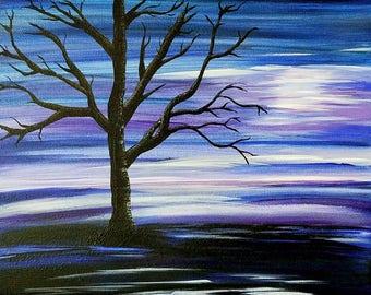 Original abstract moonlight acrylic tree painting on canvas 11x14