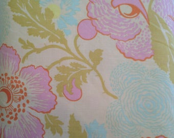 CLEARANCE Fresh Poppies In Ivory Fabric Amy Butler Midwest Modern II Orange Dehlia Quilters Cotton Blue Olive Pink Red Fat Quarter