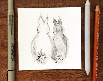 4x4 Original Hand Drawn Art-Bunny  Rabbit Butts Love Wedding Valentines Anniversary